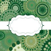 Patterned frame background invitation circular ornament green - stock illustration
