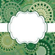 Patterned frame background invitation circular ornament green - stock illustration
