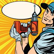 Male master repairman with a drill - stock illustration