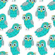 Owlet turquoise vector seamless pattern. Stock Illustration