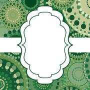 Patterned frame background invitation circular ornament green Stock Illustration