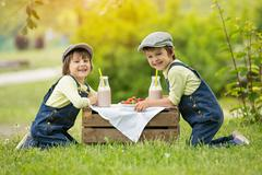 Two beautiful children, boy brothers, eating strawberries and cookies - stock photo