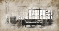 Vintage style modern sofa in bright living room Stock Illustration