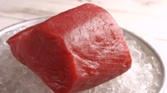 Raw fish meat on ice. Stock Footage