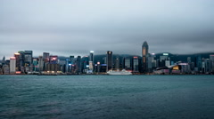 Stormy Weather Hong Kong Day to Night Time Lapse Stock Footage