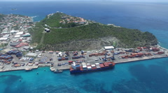 Aerial  view of cargo ship Stock Footage