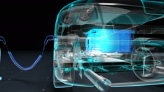 Electronic, hydrogen, lithium echo car. Charging battery. Side view. future car. Stock Footage