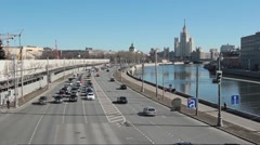 Panorama Of The River In Moscow Stock Footage