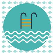 Abstract illustration with a pool ladder and water with waves - stock illustration