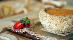 Traditional Portuguese dessert: milk cream. Stock Footage
