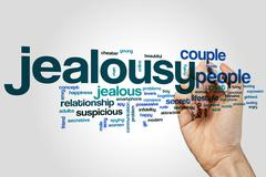Jealousy word cloud Stock Photos