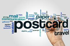 Postcard word cloud concept Stock Photos