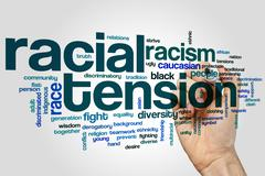Racial tension word cloud Stock Photos
