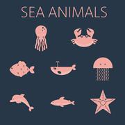 Pink sea animal set in outlines with octopus, crab, fish, penguin, shark - stock illustration