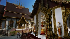 People prayin to Buddha in Wat Chiang Man Stock Footage