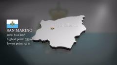 3D animated Map of San Marino Stock Footage
