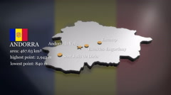 3D animated Map of Andorra - stock footage