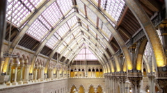 4K View of interior architecture, visitors & exhibits in Natural History museum - stock footage
