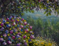 Shrub of lush flowers. Green forest mountains. Oil painting art. Stock Illustration