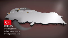 3D animated Map of Turkey - stock footage