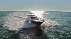 Aerial view luxury motoryacht in navigation, motor boat, motor yacht, motoryacht Stock Footage