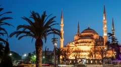 Sultanahmet (Blue Mosque) at night. Istanbul, Turkey Stock Footage