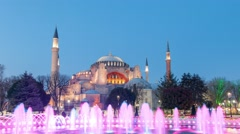 Hagia (Aya) Sophia -a historical monument in Istanbul at night. Timelapse view. Stock Footage