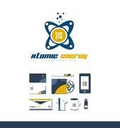 Atom atomic energy logo icon - stock illustration