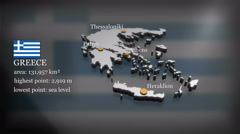 3D animated Map of Greece Stock Footage