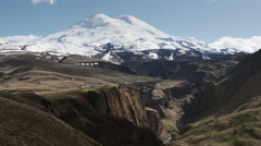 Valley of Dzhily-Su and a view of the Mount Elbrus Stock Footage