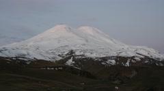 Sunrise on mount Elbrus Stock Footage
