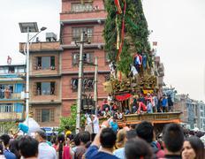 Chariot of rain Rato Machhindranath procession in Patan, Nepal - stock photo