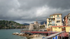 Buildings along the seafront in Rapallo Stock Footage