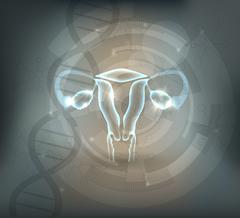 Female uterus abstract grey mesh scientific background - stock illustration