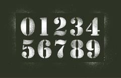 Numbers stencil spray - stock illustration