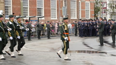 Dutch Military Marching in The Hague Netherlands Stock Footage