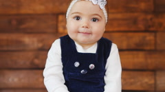Portrait of adorable baby girl - stock footage