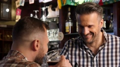 Cheerful stylish man drinking draft beer at bar counter in pub 4K UHD video. Stock Footage