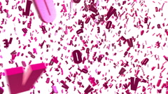"Chaotic spinning  pink 3d letters ""LOVE"", Latin alphabet. Seamless loop. Stock Footage"