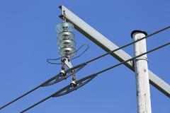 Power Line and a Clear Blue Sky - stock photo