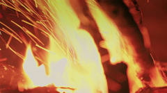 Bonfire close up. Put wood on the fire. Fire flames. Indigo color - stock footage
