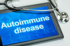 Tablet with the diagnosis Autoimmune disease on the display Stock Photos
