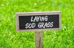 Sign on a green lawn - Laying sod grass Stock Photos