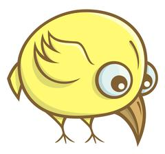 Yellow bird cartoon - stock illustration