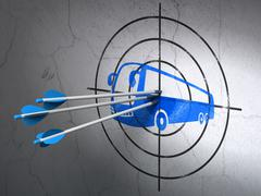 Travel concept: arrows in Bus target on wall background - stock illustration
