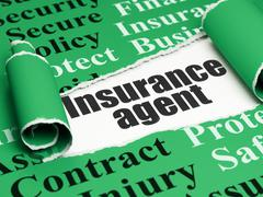 Insurance concept: black text Insurance Agent under the piece of  torn paper - stock illustration