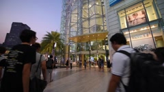 People walking near the Siam Paragon mall Stock Footage