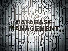 Programming concept: circuit board with Database Management - stock illustration
