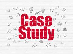 Studying concept: Case Study on wall background - stock illustration