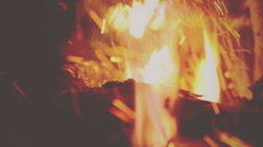 Bonfire close up. Vignette color - stock footage
